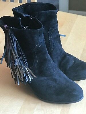 2840f742b SAM EDELMAN Boots Louie Suede Black Pewter Burgundy Fringe Cuffable Booties  9 M