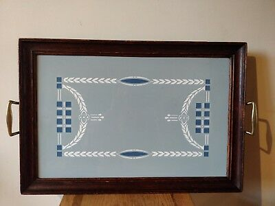 Antique Arts & Crafts Large Handmade ceramic tile and wooden framed tray