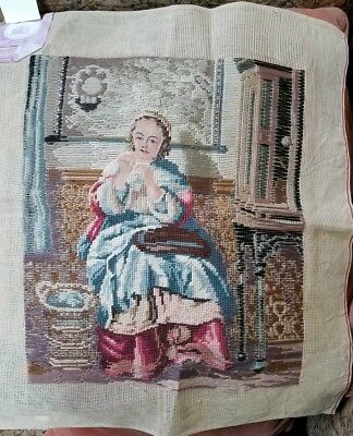 Vintage Small Tapestry Petit Point Preworked Needlepoint Canvas w/Tags