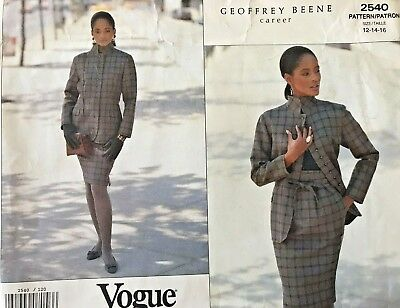 VOGUE Career Misses' Jacket & Skirt Geoffrey Beene Pattern 2540 Size 12-16 UNCUT