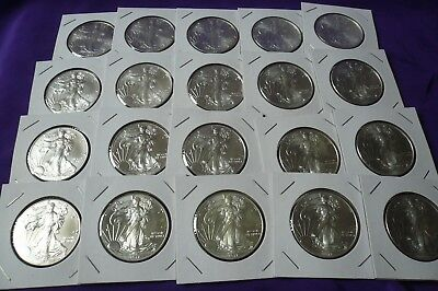 Lot of 20 Mixed Dates American Silver Eagle Coins 1 oz BU Roll