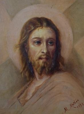 Antique French Religious Oil Painting After Lazerges of Jesus Christ Portrait