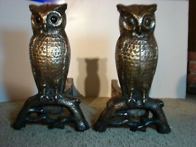 ARTS AND CRAFTS ERA BRONZE not brass OWL MARBLE EYES ANDIRONS PECK STOWE WILCOX