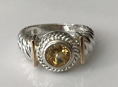 Sterling Silver bezel-set Citrine Ring with 14K Yellow Gold Accents -  6