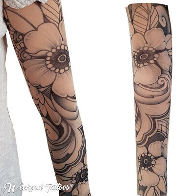 Flowers Roses Women Slip on  Elastic Stocking Fake Arm Temporary Tattoo Sleeves