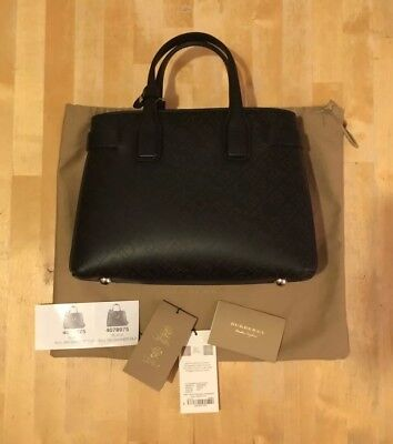 21c6f87bf455 BURBERRY BANNER BAG Black Perforated Leather BNWT - Small Size Tote ...