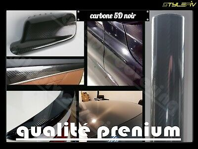 Film vinyle covering carbone 5D noir 152 x 100 cm thermoformable adhesif