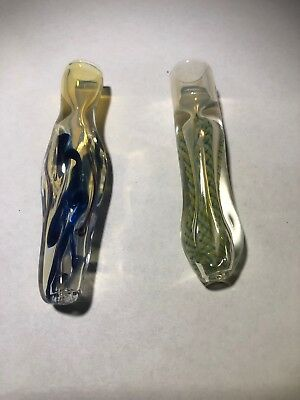 2 Pack Artisanal Glass Chillum Premium Glass Pipe Collectable One Hitter