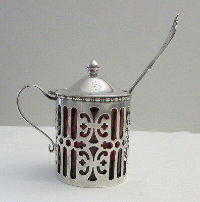 1930s Gorham Sterling Mustard Pot with Cranberry Glass Liner & Sterling Spoon