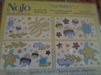 New NoJo~SEA BABIES~Decorative Wall Decals~Turtle Octopus Fish~Removable
