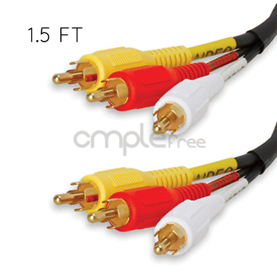 1.5ft 3 RCA Composite AV Audio Video Cable Gold Plated Male