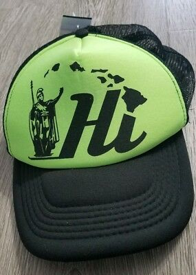 99054bad2b68ed Hawaii Double Snapback Hat VTG Green Cap Foam Front Hi State Islands  Trucker Hat