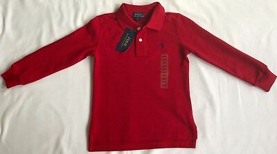 New Ralph Lauren Boys Long Sleeved Polo-Shirt 4T/ 4 Years-Red with Tag