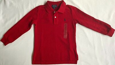 New Ralph Lauren Boys Long Sleeved Polo-Shirt 7 Years-Red