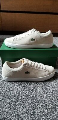 920a55194 LACOSTE STRAIGHTSET OFF White Leather Trainer Size 7 - £49.99 ...