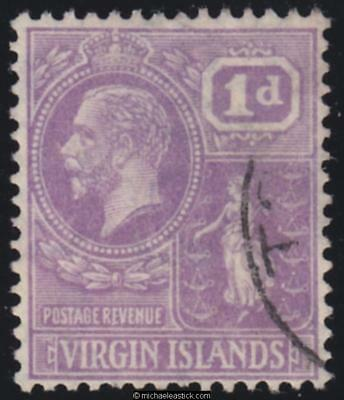 1927 British Virgin Islands 1d Bright Violet KGV, SG 88, used