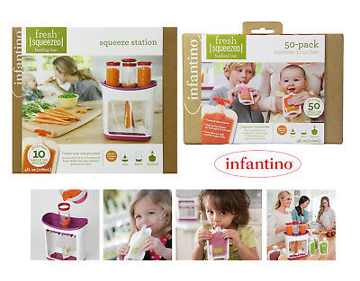 Infantino Squeeze Station + 50 Pack 120ml Squeeze Food Pouches Double Pack NEW