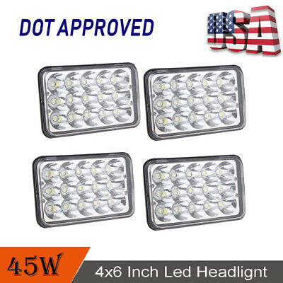 """4pcs 45W DOT Approved 4x6"""" Led Cree Projector Headlight for H4651 H4652 Kenworth"""