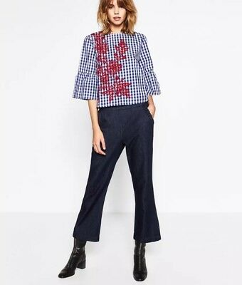 8012faf29ea Zara Woman Blue White Checkered Gingham Bell Sleeve Top Embroidered Red  Floral S