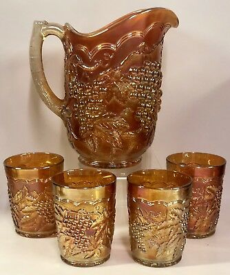 Vintage Imperial Grape Marigold Carnival Glass Water Pitcher Set w/ 4 Tumblers