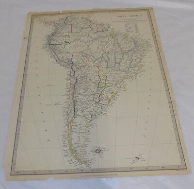 1842 Antique COLOR Map///SOUTH AMERICA