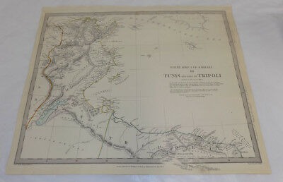 1836 Antique COLOR Map///TUNIS & PART OF TRIPOLI, NORTH AFRICA/BARBARY, PART 3