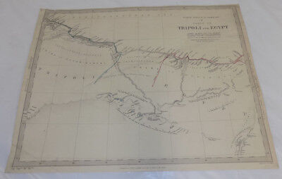 1837 Antique COLOR Map///TRIPOLI & EGYPT, NORTH AFRICA or BARBARY, PART 5