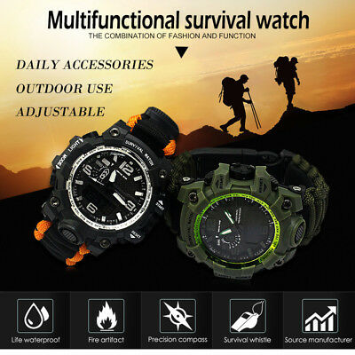 Multifunction Survival Watch Bracelet With Flint Fire Starter Compass Whistle