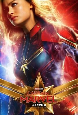Captain Marvel 2019 Carol Danvers Brie Larson Canvas Poster 24x36 inchs