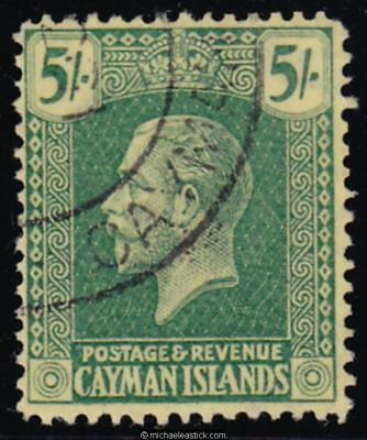 1925 Cayman Islands 5/- Green & Red on Yellow, SG 82, used