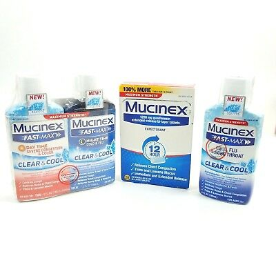 Mucinex Huge Lot Of 3 Clear Cool Liquid And Expectorant Pills Cold