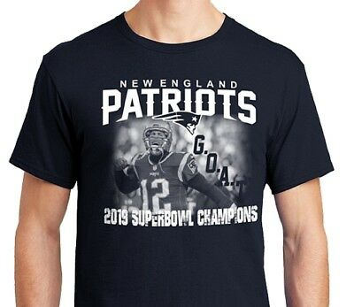 New England Patriots Tom Brady GOAT Super Bowl Champs 2019 Photo Fan Shirt NEW