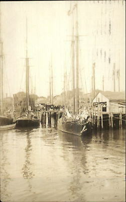 Gloucester MA Boats Harbor Docks Used 1927 Real Photo Postcard