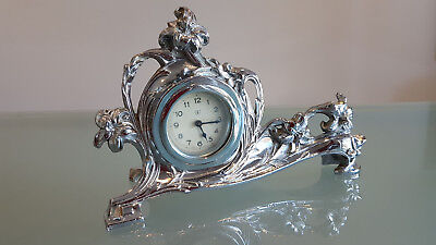 Art Nouveau Plated Mantle Clock. Highly Decorated. Ticking But Needs Attention.