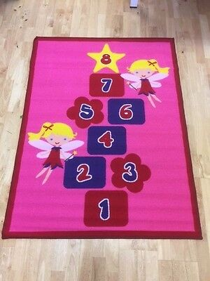 Childrens Play Rug Pink Hopscotch Angel FLOOR CARPET Girls