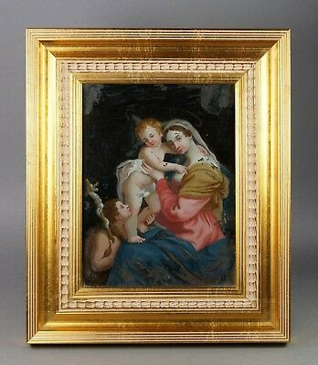 18th Century Georgian Reverse Painted Glass Picture Virgin with Child Circa 1800