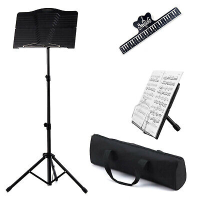Adjustable Metal Sheet Music Stand Holder Folding Foldable Easy To Carry Stand