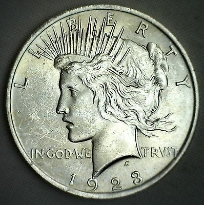 1923 BU Silver Peace Dollar One $1 Coin Brilliant UNCIRCULATED #M8