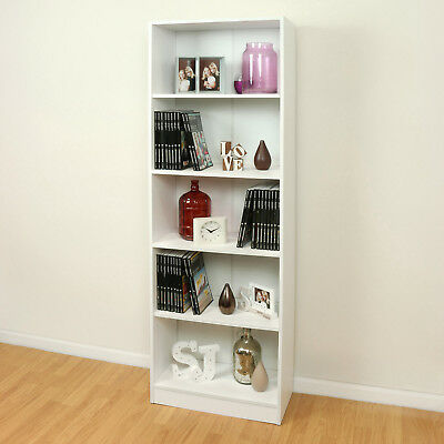 Sale 5 Tier Wooden White Home/Office Bookcase Storage Display Unit Cabinet #368