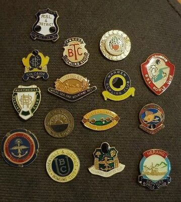 15x Bowls Badges **CLASPS REMOVED**