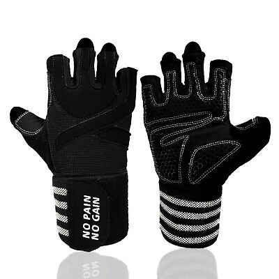 Weight Lifting Gloves With Wrist Support Gym Workout Crossfit Black S M L XL