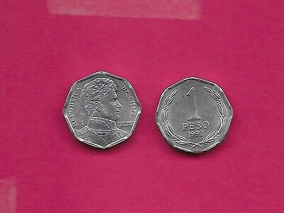 Chile Rep 1 Peso 1992 Unc Wide Date,8 Sided Coin,bernardo O'higgins Bust Right,d