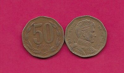 Chile Rep 50 Pesos 1982 Xf 10 Sided Coin,wide Date,libertador B. O'higgins Bust