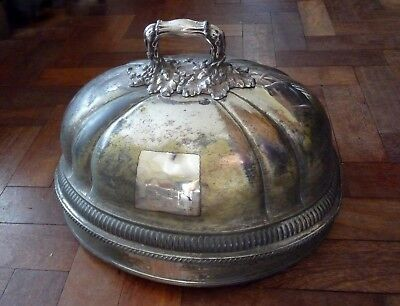 Antique William IV Sheffield Silver Plate meat dish domed cover marked W.E.