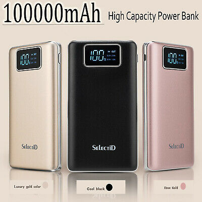 100000mAh 3 USB LCD Battery Charger Power Pack For iPhone Samsung HTC LG HUAWEI