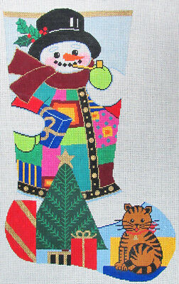 HP Needlepoint 13ct LEE Snowman with Kitten Stocking-LB53