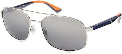 329aaa9f2aea7 Ray Ban RB3593-910188-58 Aviator Sunglasses Silver Blue Orange Frame Grey