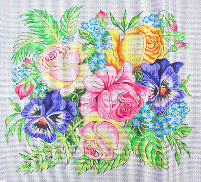 HP Needlepoint 13ct EVELYN BERNSTEIN Roses & Pansies Floral-LB173