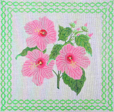 HP Needlepoint 13ct EVELYN BERNSTEIN Pink Hibiscus-LB115