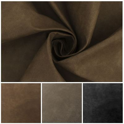 Tivo Plain Distressed Suede Effect Animal Faux Leather Upholstery Fabric